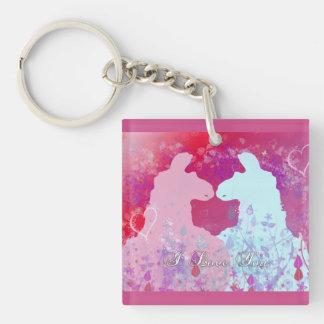 Llama: Una tarjeta del día de San Valentín de la l Llavero Cuadrado Acrílico A Una Cara