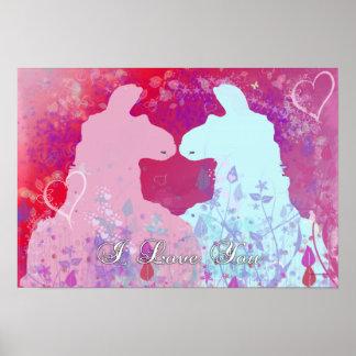 Llama: Una tarjeta del día de San Valentín de la l Poster
