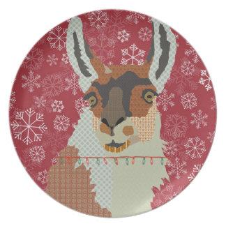 Llama Vintage Red Snowflake Plate
