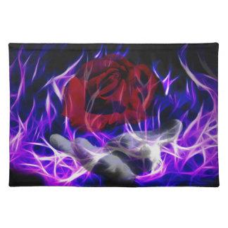 Llama violeta subió y mano de dioses mantel individual