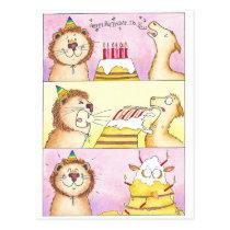 Llama VS Lion Birthday postcard by Nicole Janes