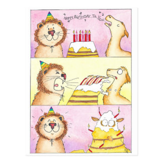 Llama VS Lion Birthday postcard by Nicole Janes