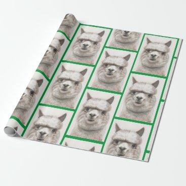 Llama Watercolor Wrapping Paper Alpaca Smiles