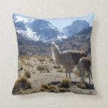 Llama with Nursing Baby Bolivia Mountains Throw Pillow