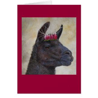 Llama with radish crown greeting card
