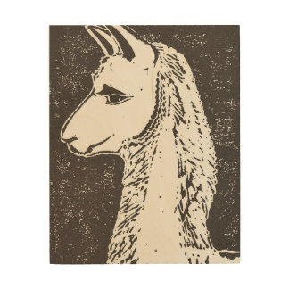 Llama Wood Canvas, 8x10 Inches Wood Wall Art