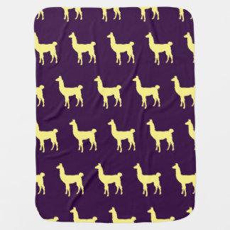 Llama Yellow Purple Receiving Blanket