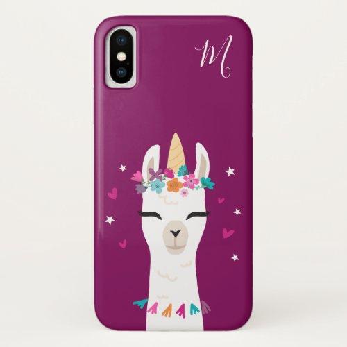 Llamacorn | Kawaii Cartoon Unicorn Llama Monogram iPhone XS Case