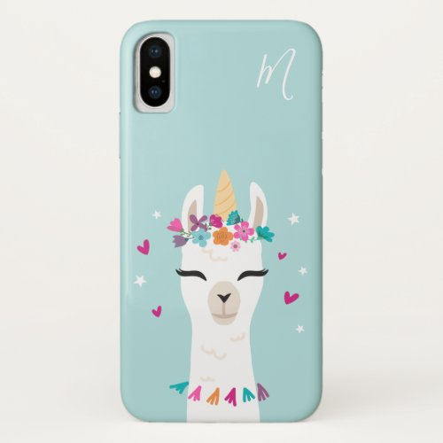 Llamacorn | Kawaii Cartoon Unicorn Llama Monogram iPhone XS Case