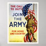 Llamada al deber - únase a al ejército para el hog poster