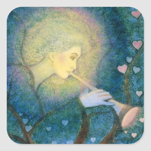 Llamada de amor musical de los corazones del ángel pegatina cuadrada