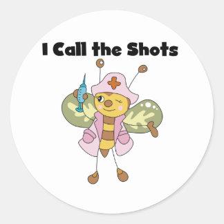 Llamada de la enfermera I los pegatinas de los Etiqueta Redonda