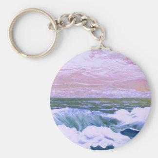 Llamada de las olas oceánicas del mar que navegan llavero redondo tipo pin