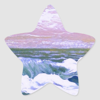 Llamada de las olas oceánicas del mar que navegan calcomania forma de estrella personalizada