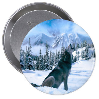 Llamada de lobo pin redondo de 4 pulgadas