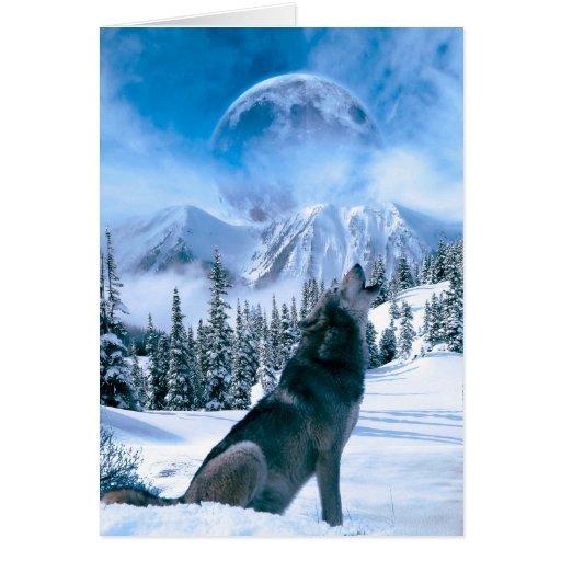 Llamada de lobo tarjeta pequeña