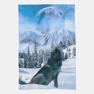 Llamada de lobo toalla de mano