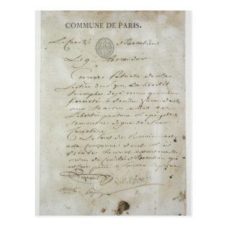 Llamada de Maximiliano de Robespierre Tarjeta Postal