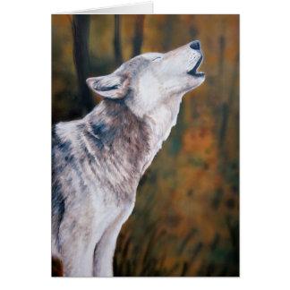 """""""Llamada"""" del arte salvaje Notecard del lobo Tarjeta De Felicitación"""