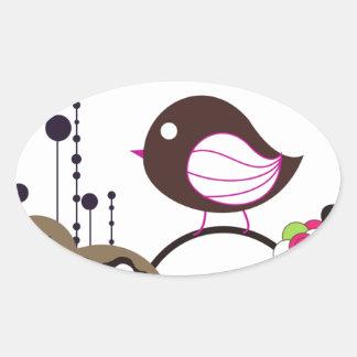 Llamada del pájaro pegatinas de oval