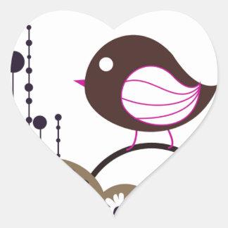 Llamada del pájaro pegatina en forma de corazón