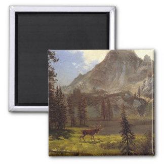 Llamada del salvaje - Albert Bierstadt Imán Cuadrado