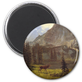 Llamada del salvaje - Albert Bierstadt Imán Redondo 5 Cm