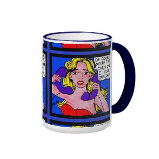 Llamada en espera, taza de café cómica de la caja
