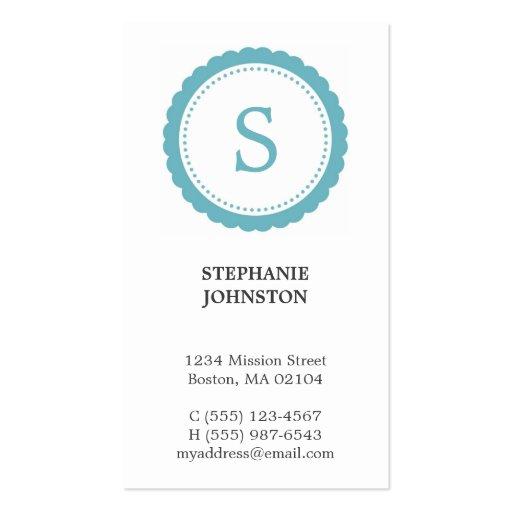 Llamada personal elegante del monograma azul del r tarjeta de visita