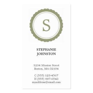 Llamada personal elegante del monograma verde del  tarjetas de visita