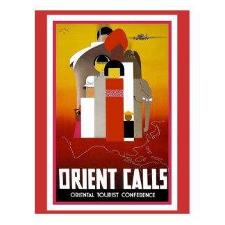 Llamadas de Oriente del vintage Postal