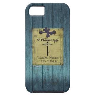 Llamadas de teléfono de madera azules antiguas del iPhone 5 carcasa