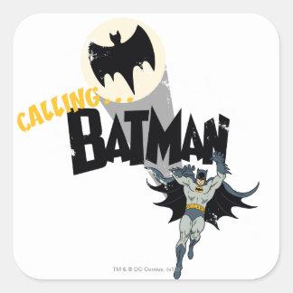 Llamando a Batman gráfico Pegatina Cuadrada
