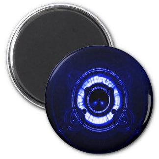 Llamarada azul de la lente iman para frigorífico