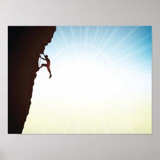 Llamarada de Sun de la silueta del escalador de Póster