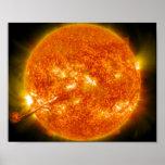 Llamarada solar o eyección total de la guirnalda e posters