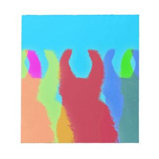Llamas 5 en colores gráficos brillantes de la llam blocs de notas