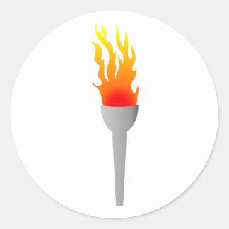 Llamas antorcha de flames torch pegatina redonda