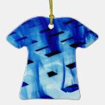 Llamas azules a través de la foto blanca del diseñ ornamento para arbol de navidad