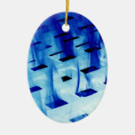 Llamas azules a través de la foto blanca del diseñ adornos