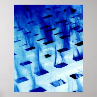 Llamas azules a través de la foto blanca del diseñ póster