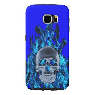 Llamas azules con el cráneo fundas samsung galaxy s6