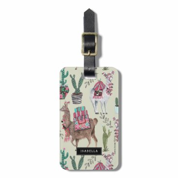 CartitaDesign Llamas Cactus | Travel vacation | Luggage Tag
