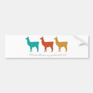 Llamas Color My World with Joy Car Bumper Sticker