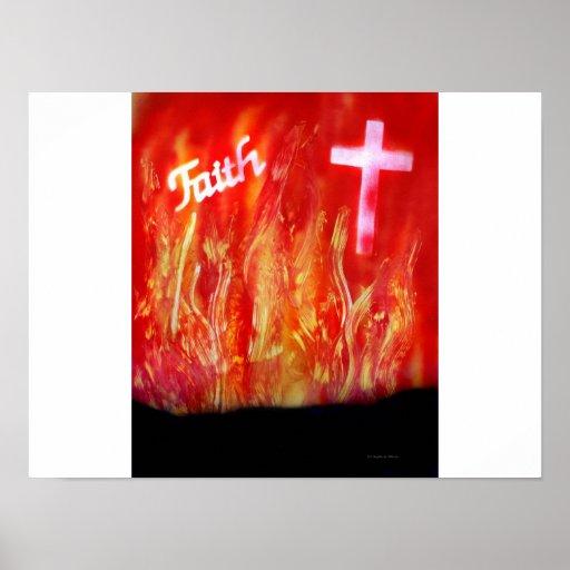 Llamas con la pintura a pistola de la fe y de la c poster