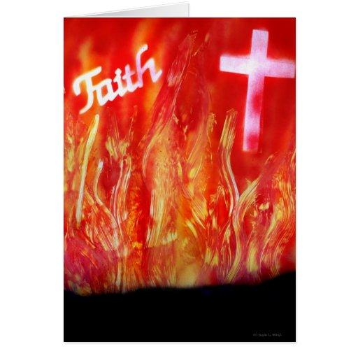 Llamas con la pintura a pistola de la fe y de la tarjeta pequeña