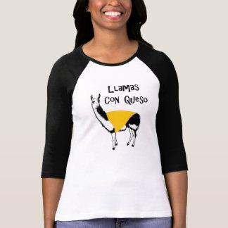 Llamas Con Queso woman Tshirts