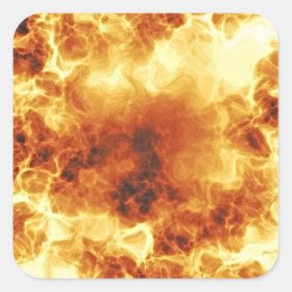 Llamas de estallido ardientes calientes calcomanía cuadradas personalizada