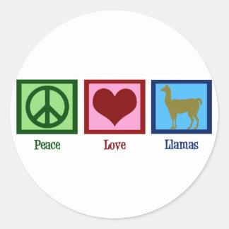 Llamas del amor de la paz pegatina redonda