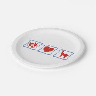 Llamas del amor de la paz plato de papel de 7 pulgadas